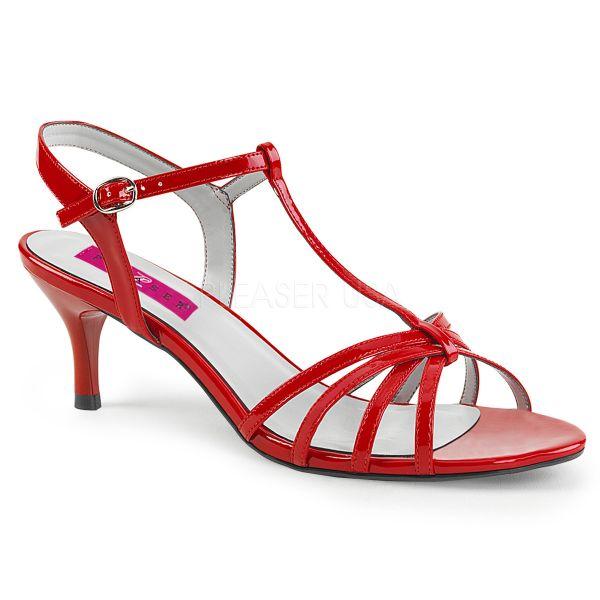 KITTEN-06 Klassische T-Strap Sandalette rot Lack